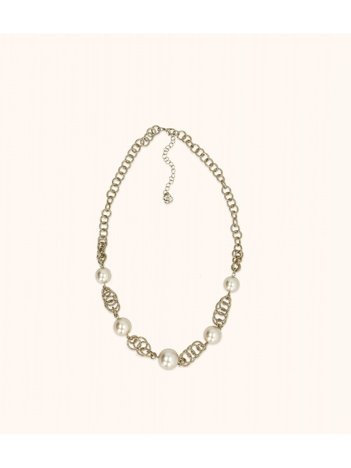 CIRCLES AND PEARLS NECKLACE