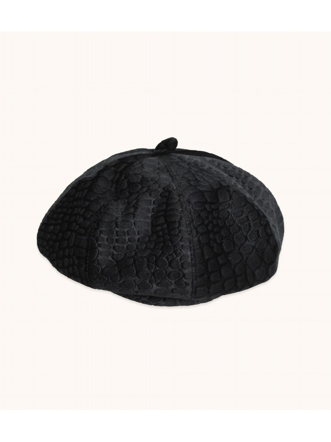 CROC EMBOSSED VELVET HAT