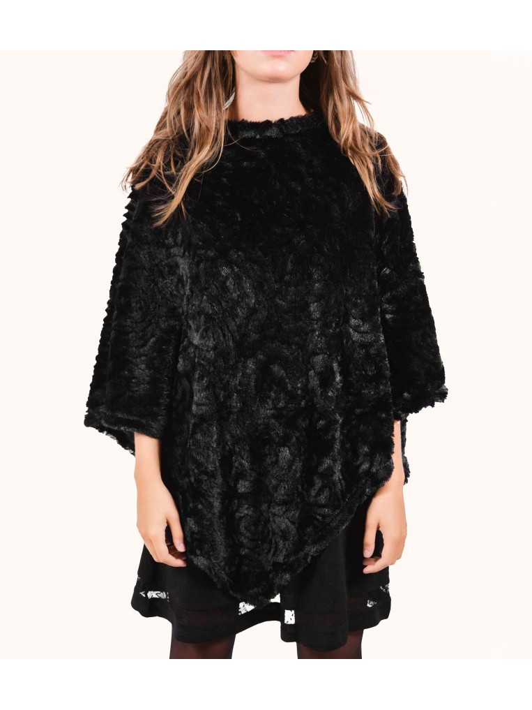ROSE EMBOSSED FAUX FUR PONCHO